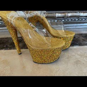 New Gold Glitter Pleaser Heels Size 7